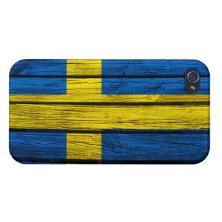 Swedish Flag Rustic Wood iPhone 4 Covers