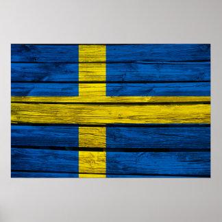 Swedish Flag Rustic Wood Poster