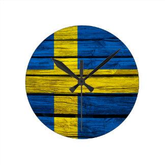 Swedish Flag Rustic Wood Round Clock