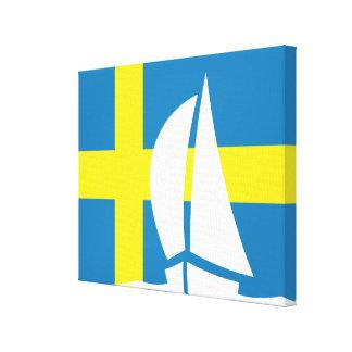 Swedish Flag Sailing Yacht Nautical Sweden Canvas Print