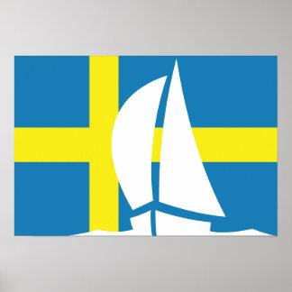 Swedish Flag Sailing Yacht Sweden Nautical Poster