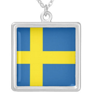 Swedish Flag Scandinavian Blue and Yellow Square Pendant Necklace