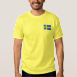 "Swedish Flag Scandinavian Embroidered T-Shirt<br><div class=""desc"">Embroidered Flag of the Scandinavian country of Sweden in blue and yellow.</div>"
