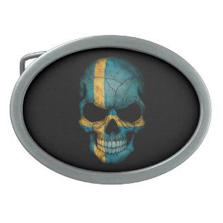 Swedish Flag Skull on Black Belt Buckles