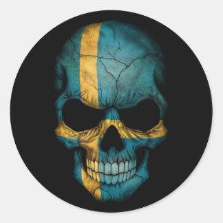 Swedish Flag Skull on Black Classic Round Sticker