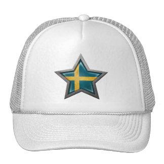 Swedish Flag Star Trucker Hats