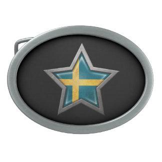 Swedish Flag Star on Black Oval Belt Buckle