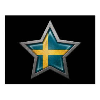 Swedish Flag Star on Black Postcard