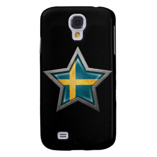 Swedish Flag Star on Black Samsung Galaxy S4 Cover