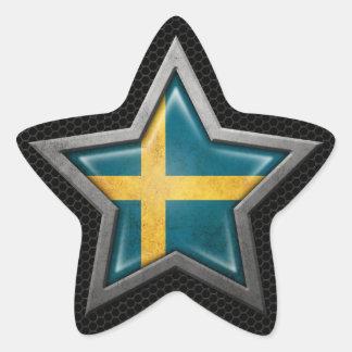 Swedish Flag Star with Steel Mesh Effect Star Sticker