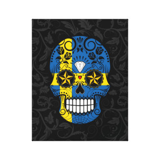 Swedish Flag Sugar Skull with Roses Gallery Wrap Canvas