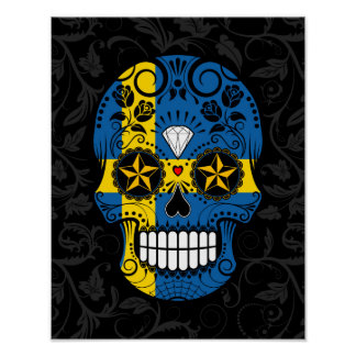 Swedish Flag Sugar Skull with Roses Posters