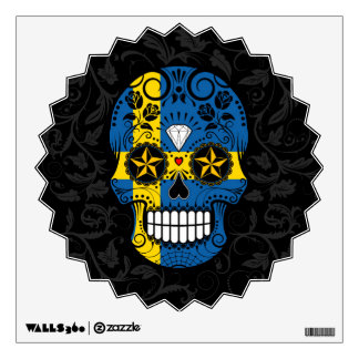 Swedish Flag Sugar Skull with Roses Room Graphic