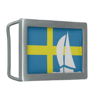 Swedish Flag Sweden Sailing Boat Nautical Belt Buckle