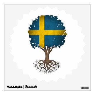 Swedish Flag Tree of Life Customizable Wall Sticker