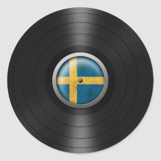 Swedish Flag Vinyl Record Album Graphic Classic Round Sticker