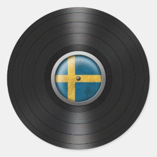 Swedish Flag Vinyl Record Album Graphic Classic Round Sticker