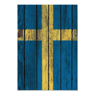 Swedish Flag with Rough Wood Grain Effect 3.5x5 Paper Invitation Card