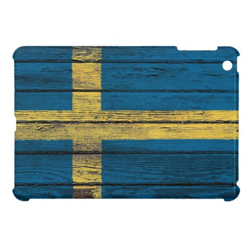 Swedish Flag with Rough Wood Grain Effect Cover For The iPad Mini