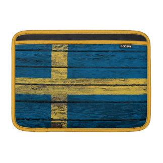 Swedish Flag with Rough Wood Grain Effect MacBook Sleeves