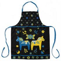 Swedish Folk Dala Horse l Blue and Yellow Apron
