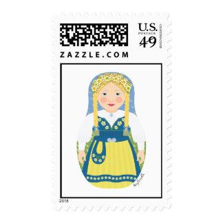 Swedish Girl Matryoshka Stamps
