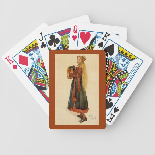 Swedish Girl Playing Accordion Bicycle Playing Cards