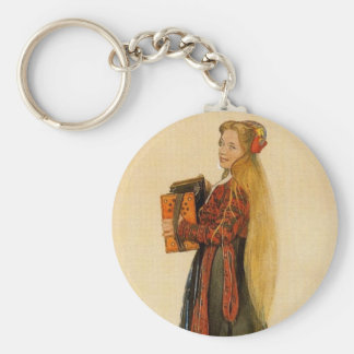 Swedish Girl Playing Accordion Keychains