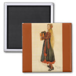 Swedish Girl Playing Accordion 2 Inch Square Magnet