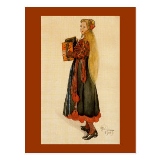 Swedish Girl Playing Accordion Post Card