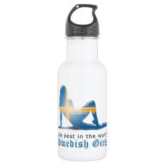 Swedish Girl Silhouette Flag 18oz Water Bottle