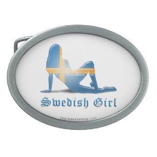 Swedish Girl Silhouette Flag Oval Belt Buckle