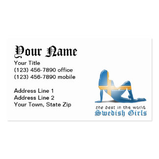 Swedish Girl Silhouette Flag Business Card