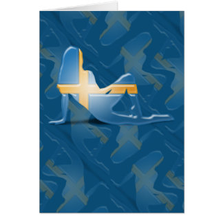 Swedish Girl Silhouette Flag Greeting Card