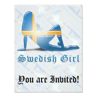 Swedish Girl Silhouette Flag Card