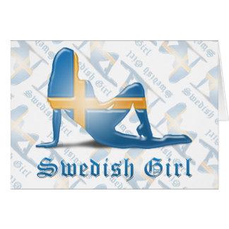 Swedish Girl Silhouette Flag Greeting Cards