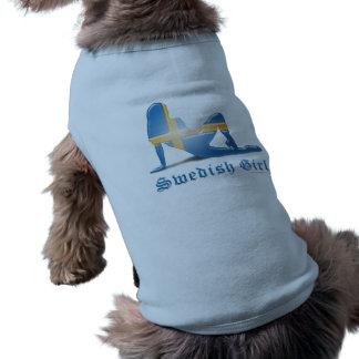 Swedish Girl Silhouette Flag Doggie Shirt