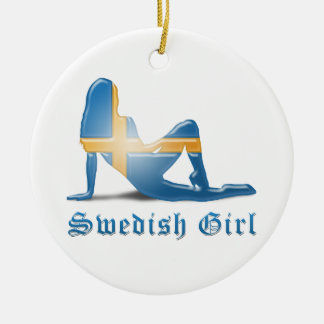 Swedish Girl Silhouette Flag Double-Sided Ceramic Round Christmas Ornament