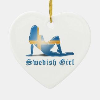 Swedish Girl Silhouette Flag Double-Sided Heart Ceramic Christmas Ornament