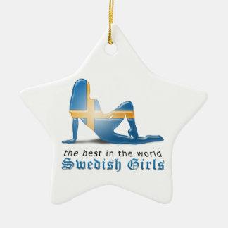 Swedish Girl Silhouette Flag Double-Sided Star Ceramic Christmas Ornament