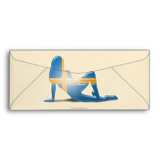 Swedish Girl Silhouette Flag Envelopes