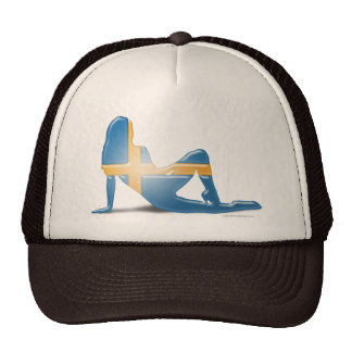 Swedish Girl Silhouette Flag Mesh Hats
