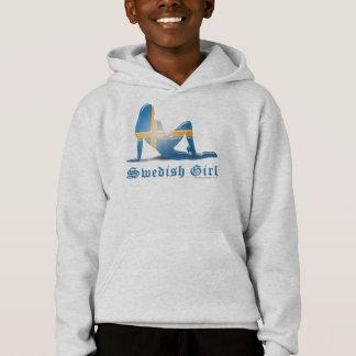 Swedish Girl Silhouette Flag Hoodie