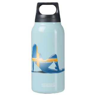 Swedish Girl Silhouette Flag Insulated Water Bottle