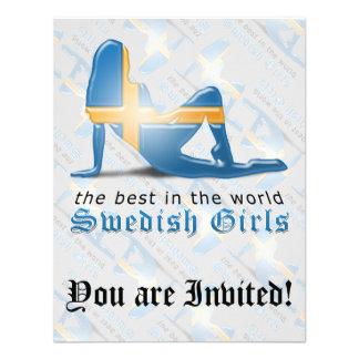 Swedish Girl Silhouette Flag Invitation