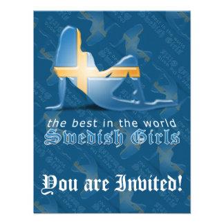Swedish Girl Silhouette Flag Personalized Invitation