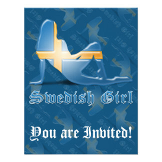 Swedish Girl Silhouette Flag Custom Invitations