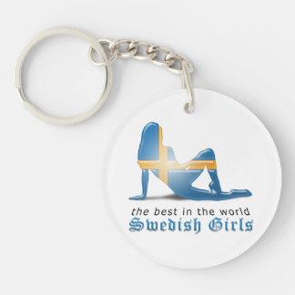Swedish Girl Silhouette Flag Keychain