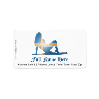 Swedish Girl Silhouette Flag Personalized Address Labels