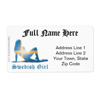 Swedish Girl Silhouette Flag Personalized Shipping Labels